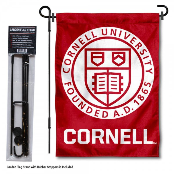 Cornell Big Red Garden Flag and Holder