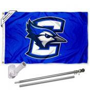 Creighton Jays Flag and Bracket Mount Flagpole Set