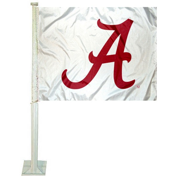 Crimson Tide White Car Flag