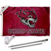 CSU Chico Wildcats Logo Flag and Bracket Flagpole Kit