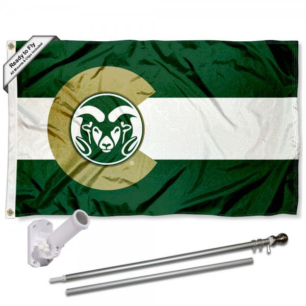 CSU Rams CO State Flag and Bracket Flagpole Kit