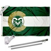 CSU Rams CO State Flag and Bracket Flagpole Kit