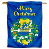 Delaware Blue Hens Christmas Holiday House Flag
