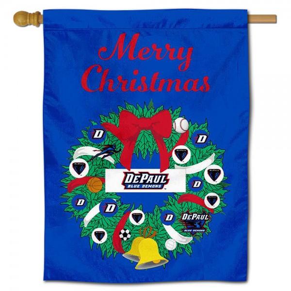 DePaul Blue Demons Christmas Holiday House Flag