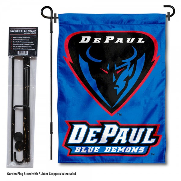 DePaul Blue Demons Garden Flag and Yard Pole Holder Set
