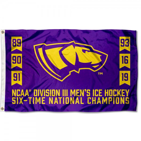 Division III Hockey 6 Time Champions UW Stevens Point Pointers 3x5 Foot Flag