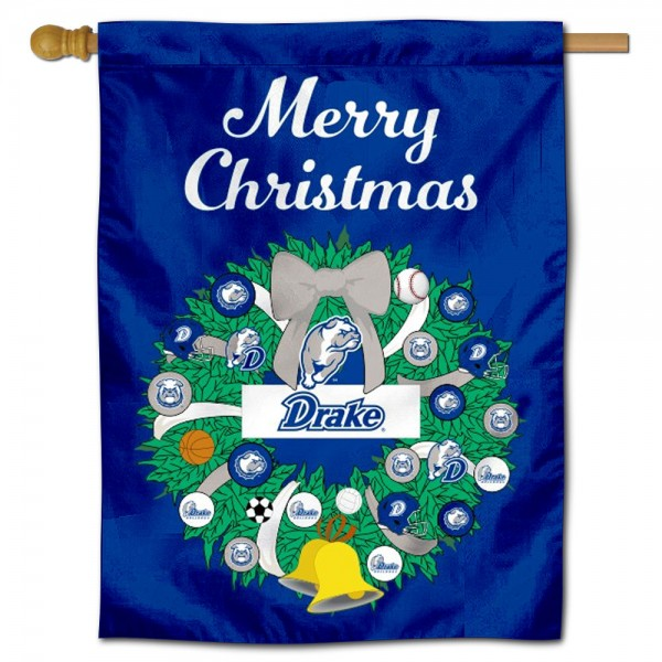 Drake Bulldogs Christmas Holiday House Flag