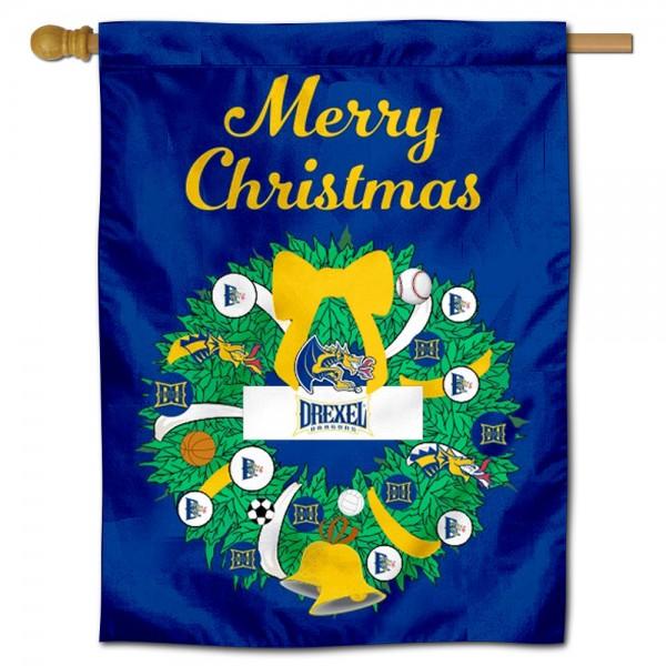 Drexel Dragons Christmas Holiday House Flag