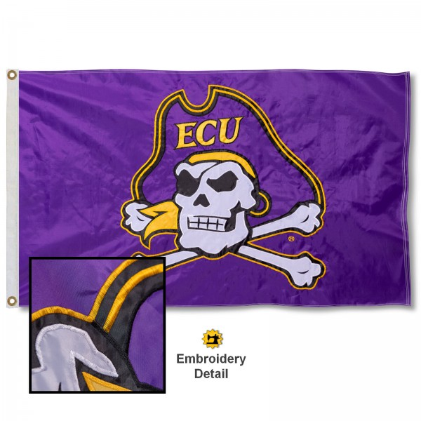 East Carolina Pirates Appliqued Sewn Nylon Flag