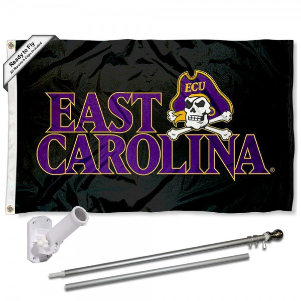 East Carolina Pirates Black Flag and Bracket Flagpole Set