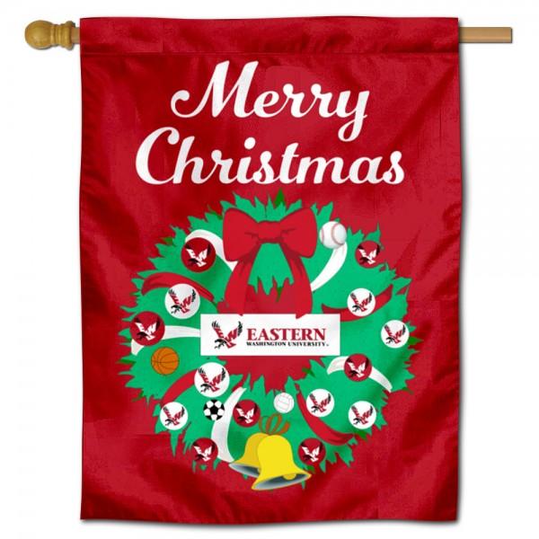 Eastern Washington Eagles Christmas Holiday House Flag