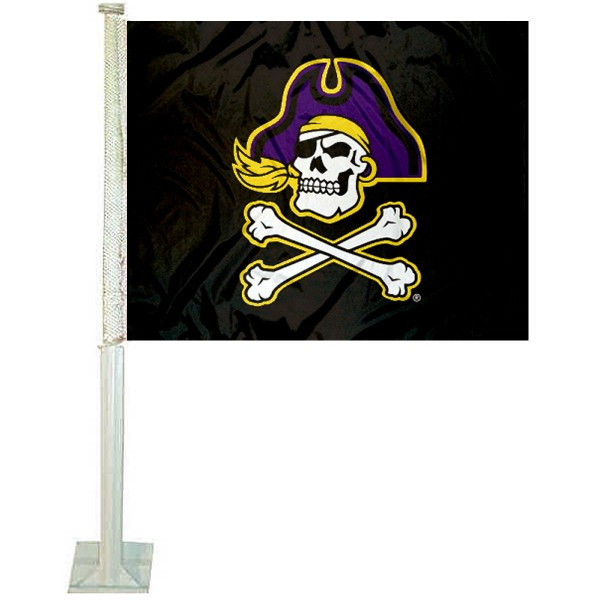 ECU Pirates Black Car Flag