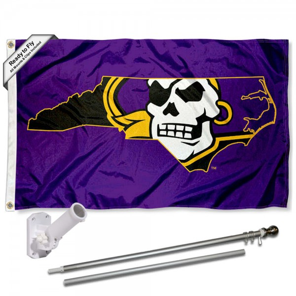 ECU Pirates NC State Flag and Bracket Flagpole Set