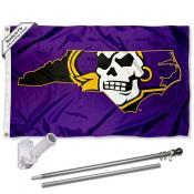 ECU Pirates NC State Flag and Bracket Flagpole Set