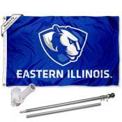 EIU Panthers Flag and Bracket Mount Flagpole Set