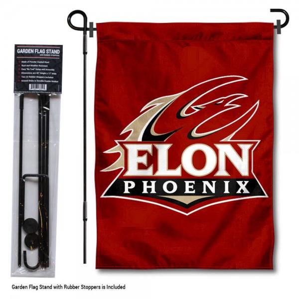 Elon Phoenix Garden Flag and Yard Pole Holder Set