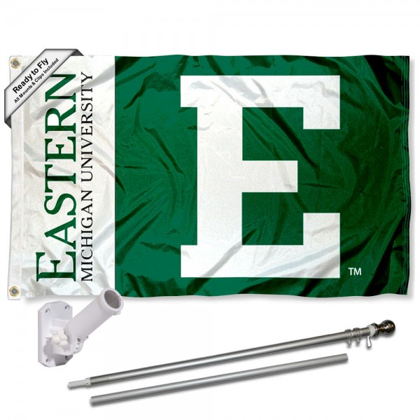 EMU Eagles Flag and Bracket Flagpole Set