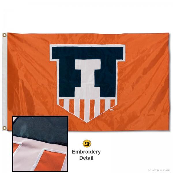 Fighting Illini Appliqued Nylon Flag