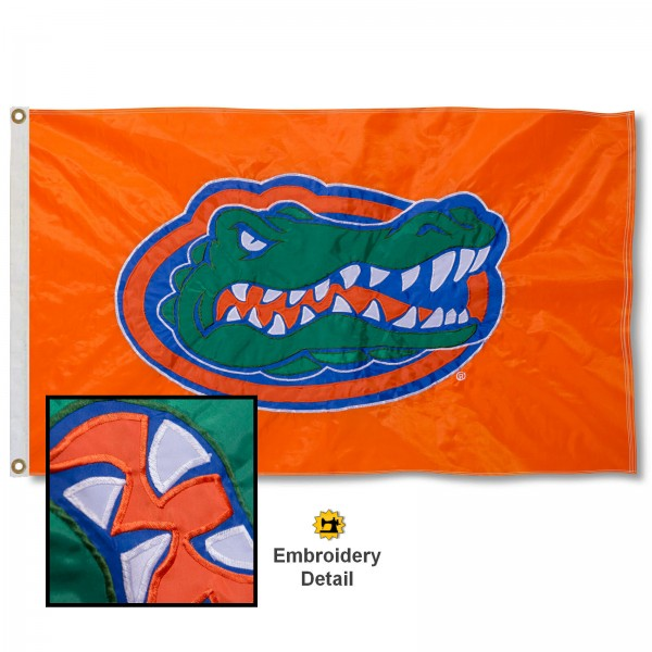 Florida Gators Appliqued Sewn Nylon Orange Flag