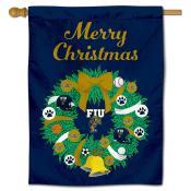 Florida International Panthers Christmas Holiday House Flag