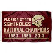 Florida State University 3 Time National Champions Flag