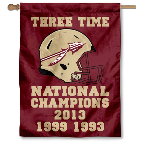 Florida State University 3 Time National Football Champions House Flag