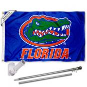 Florida UF Gators Blue Flag and Bracket Flagpole Kit