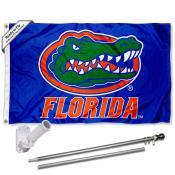 Florida UF Gators Blue Flag and Bracket Flagpole Kit