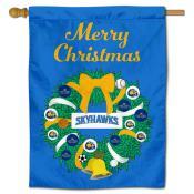 Fort Lewis Skyhawks Christmas Holiday House Flag