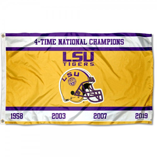 Four Time College Football Champions LSU Tigers 3x5 Foot Flag