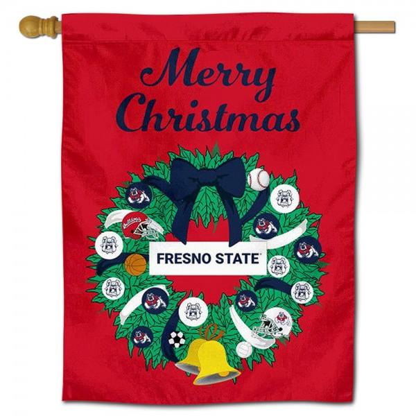 Fresno State Bulldogs Christmas Holiday House Flag