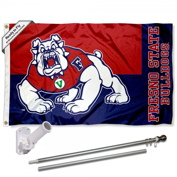 FSU Bulldogs Logo Flag and Bracket Flagpole Kit