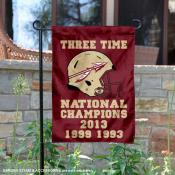 FSU Seminoles 3 Time Football National Champions Garden Flag