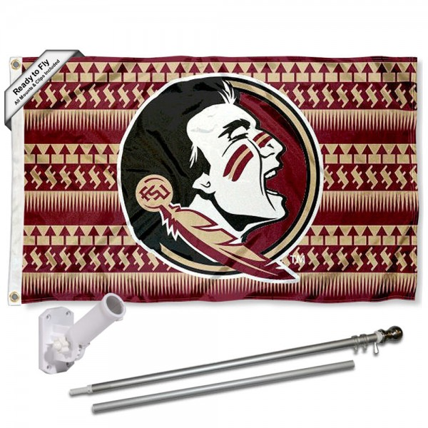 FSU Seminoles Chevron Design Flag and Bracket Flagpole Kit