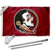 FSU Seminoles New Logo Flag and Bracket Flagole Set