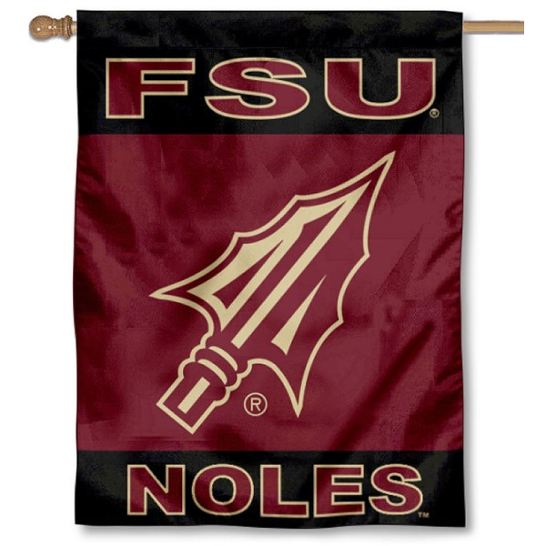 FSU Seminoles Spearhead Logo Two Sided House Flag