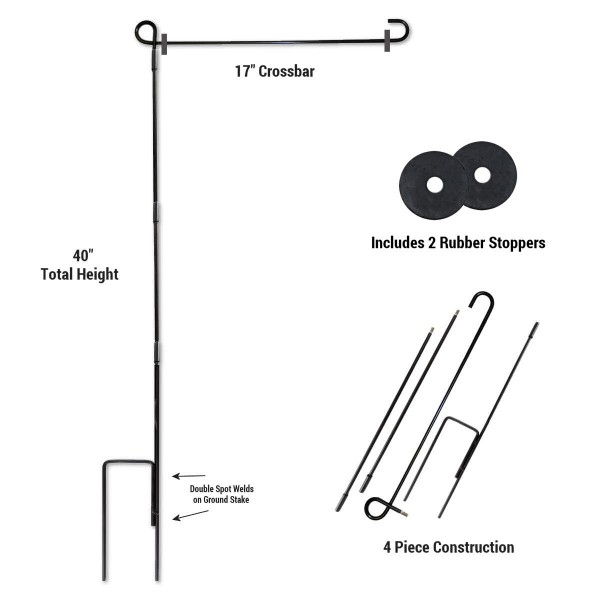 Garden Flag Pole with Rubber Stoppers