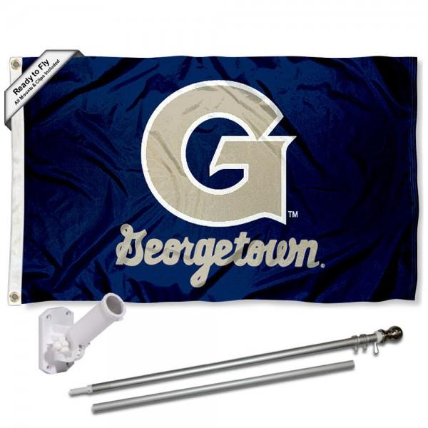 Georgetown Flag and Bracket Mount Flagpole Set