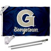 Georgetown Flag and Bracket Mount Flagpole Set