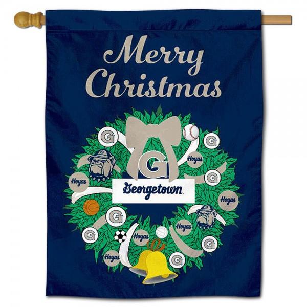 Georgetown Hoyas Christmas Holiday House Flag