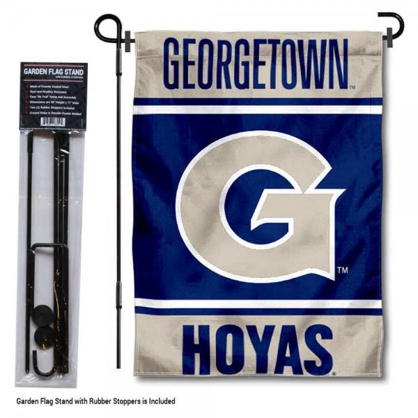 Georgetown University Garden Flag and Yard Pole Holder Set