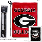 Georgia Bulldogs Red and Black Garden Flag and Holder
