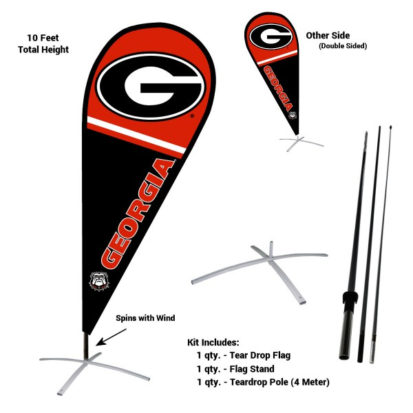 Georgia Bulldogs Teardrop Flag and Stand Kit