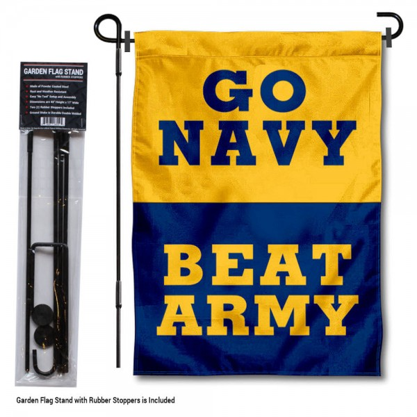 Go Navy Beat Army Garden Flag and Holder