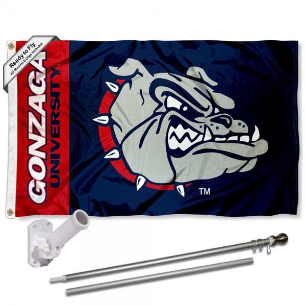 Gonzaga Bulldogs Flag and Bracket Flagpole Set