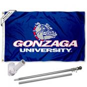 Gonzaga University Flag and Bracket Flagpole Set