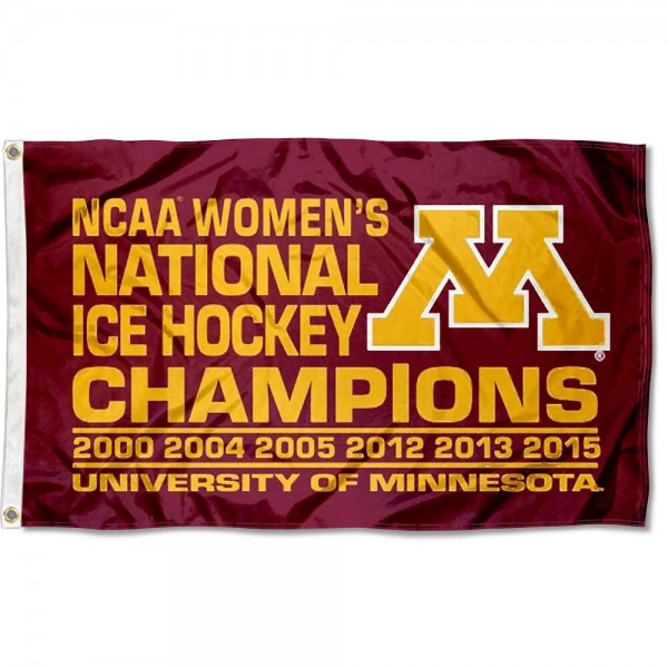 Gophers Women's 6-Time Hockey Champs Flag