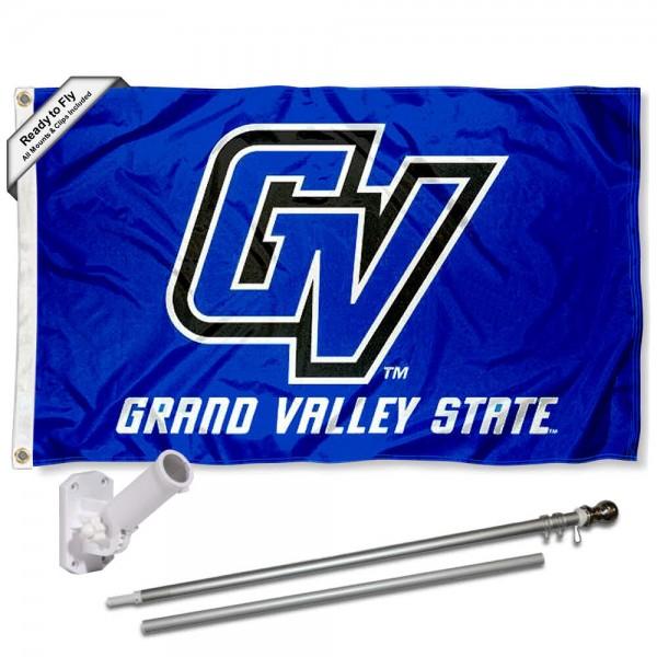 GVSU Lakers Flag and Bracket Mount Flagpole Set