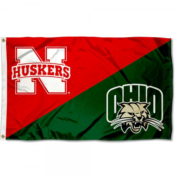 House Divided Flag - Huskers vs. Bobcats
