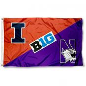House Divided Flag - Illinois vs. Northwestern